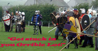 Knights get psyched up for the 2001 Egremont Medieval Festival