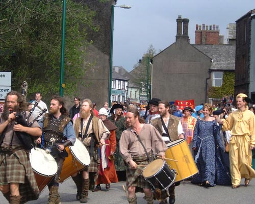 The parade today (Saturday) as Egremont 2002 Medieval Festival kicked off...more pictures tomorrow..